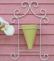 Floreira de Parede Em Aramado Branco com 1 Vaso  Amarela