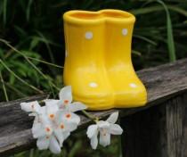 Vaso Bota Dupla Cerâmica Amarelo
