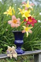 Vaso Taça Em Cerâmica Azul