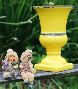 Vaso Taça Em Cerâmica Amarelo